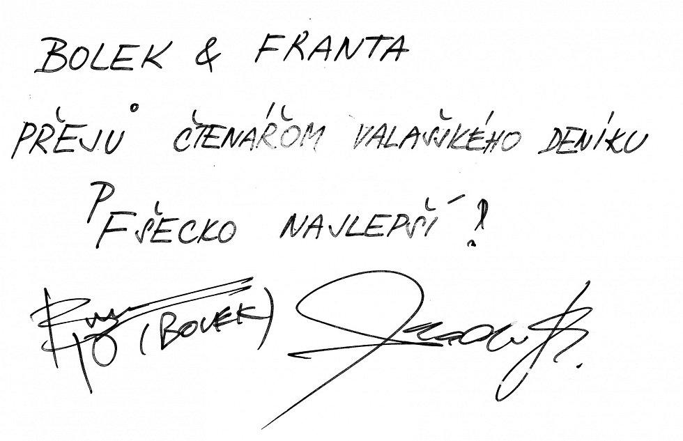 Pozdrav čtenářům Valašského deníku od Františka Segrada a Boleslava Polívky.