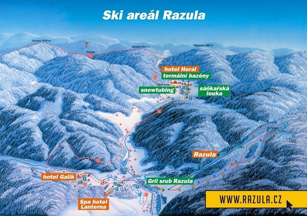 Zimní dovolená ve Velkých Karlovicích: ski areál Razula.
