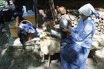 Hospodář ve Skanzenu vyhnal na pastviny ovečky. Do Skanzenu se na Velký redyk přišly podívat stovky lidí.