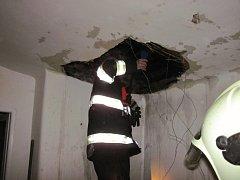 Čtyři jednotky hasičů likvidovaly v noci na neděli 4. ledna 2015 požár střechy rodinného domku v Pržně na Vsetínku