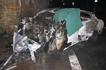 Tragická nehoda a požár osobního auta.