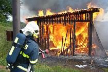 Požár technické boudy sportoviště.