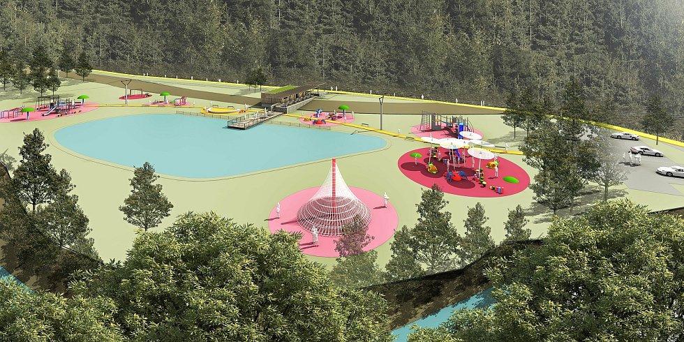 Liptál - vizualizace budoucí podoby rybníka a výletiště, které vzniknou v místě nynější staré požární nádrže v místě zvaném Žabárna.