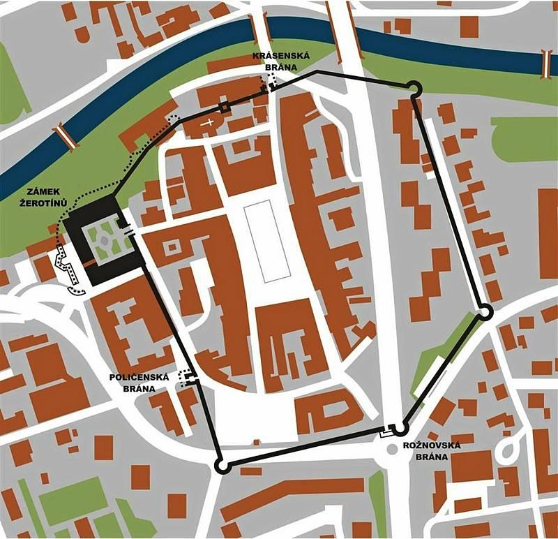 Zákres někdejší městské hradby do aktuální mapy Valašského Meziříčí.