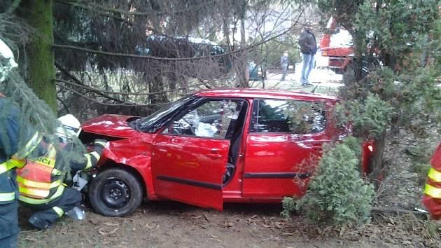 Řidič dostal na zledovatělé vozovce smyk a čelně narazil do smrku.