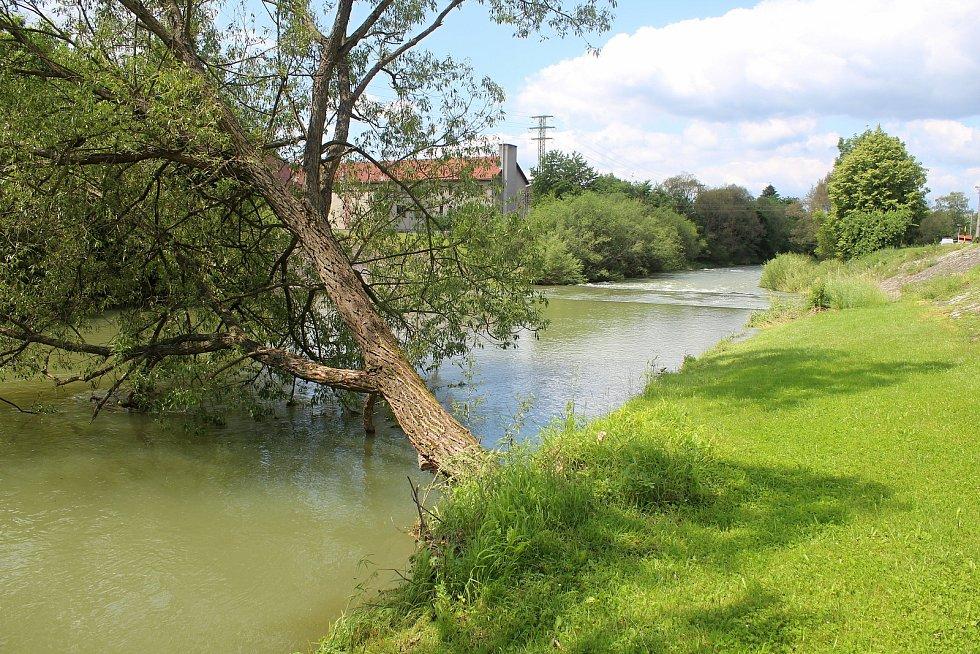 Hovězský splav na 28 km řeky Bečvy 23. června 2020 v 11.30. Zhruba 19 hodin předtím tu utonuli dva vodáci, které vtáhl proud pod splav.
