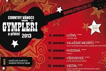 Plakát s termíny vánočních koncertů kapely Gympleři pro rok 2013