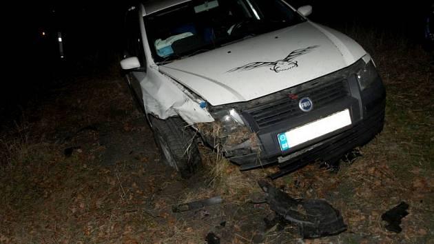 Jízda opilého muže z Kroměříže skončila v neděli 30. prosince 2012 večer u Kelče nehodou