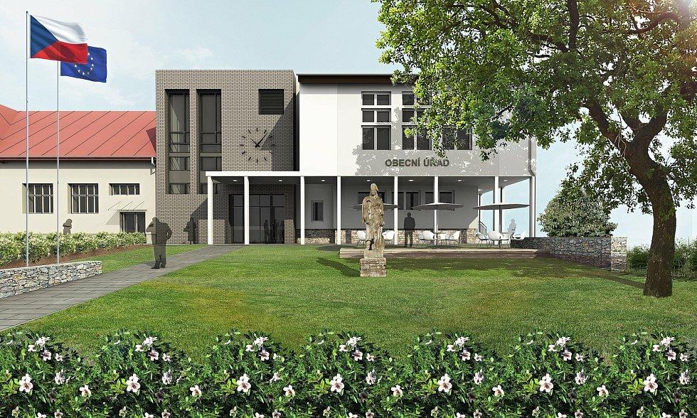 Liptál - vizualizace budoucí podoby rekonstruované budovy obecního úřadu a zdravotního střediska.