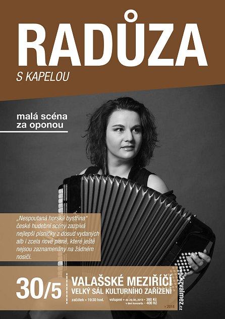 Plakát ke koncertu písničkářky Radůzy ve Valašském Meziříčí.