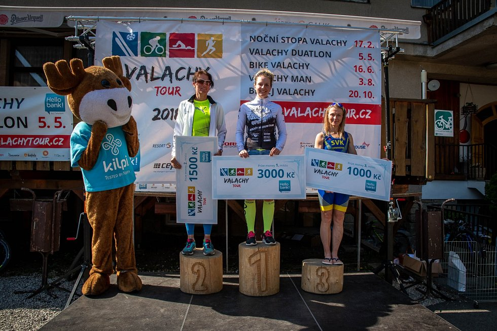 Valachy duatlon ve Velkých Karlovicích 5. května 2018.Vítězky ženy.