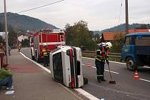 Havárie osobního auta v Lidečku