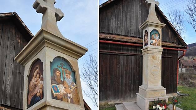 Kříž a pomník obětem I. a II. světové války v Lužné na Hornolidečsku.