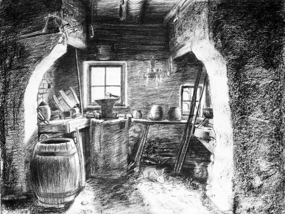 Karel Hofman: Dílna křivačkáře Jos. Škraboly, Růžďka č. 2, kresba uhlem (i. č. 1121)