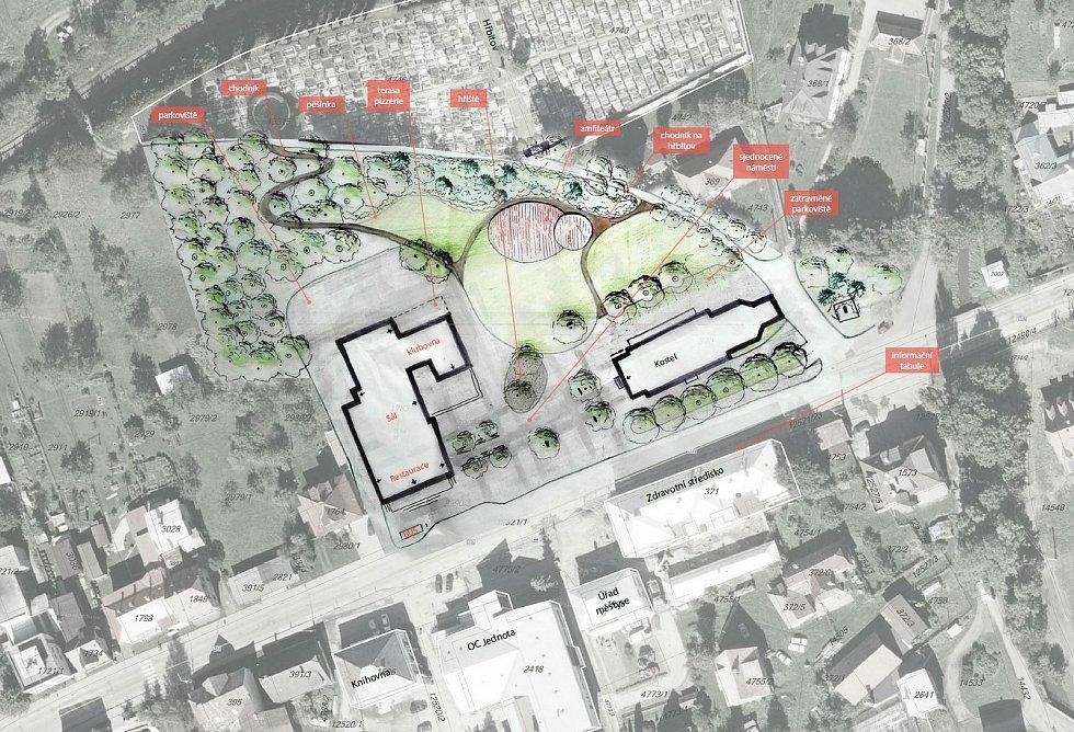 Nový Hrozenkov - jeden z návrhů architektonického řešení centra Nového Hrozenkova z dílny studentů architektury.