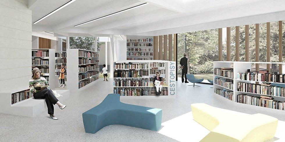 Architektonický návrh podoby interiéru budoucí přístavby rožnovské městské knihovny od studia Čtyřstěn.