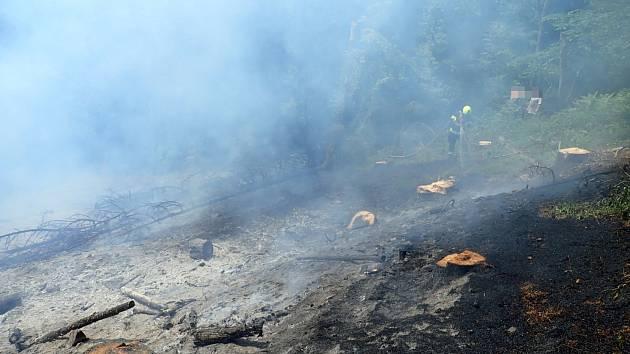 Požár rubiska v Liptále