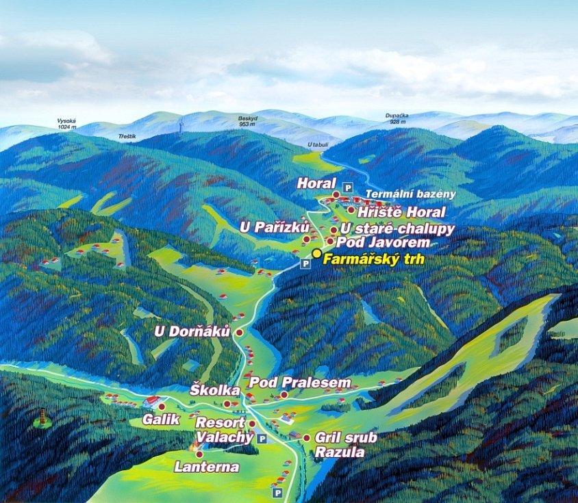 Mapa okolí Velkých Karlovic