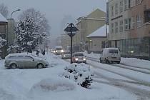 Ranní sněžení ve Vsetíně; středa 1. února 2017