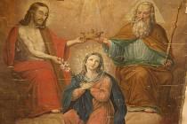 Ignaz Johann Berger: Korunování Panny Marie (detail), olej na plátně, 1863