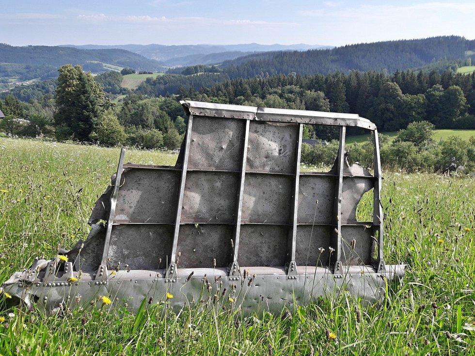 Nalezená část amerického bombardéru B-17G sestřeleného 29. srpna 1944 nad Liptálem na Vsetínsku.
