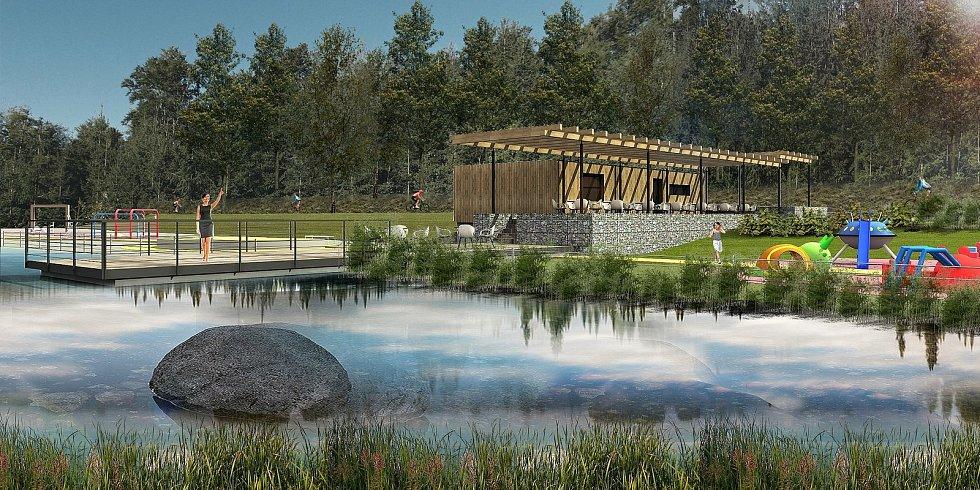 Liptál - vizualizace budoucí podoby rybníka, který vznikne v místě nynější staré požární nádrže v místě zvaném Žabárna.