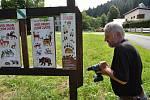 Milan Orálek z ČSOP Valašské Meziříčí provádí údržbu informačního panelu na Naučné stezce Tomáše Bati ve vsetínském údolí Červenka; pátek 31. července 2020
