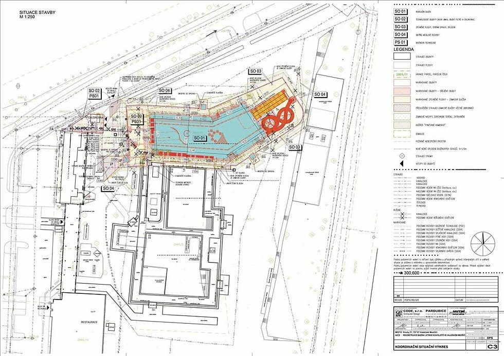 Situační nákres umístění nového bazénu v areálu letního koupaliště ve Valašském Meziříčí.