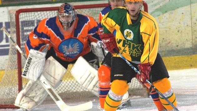 Druhý zápas čtvrtfinále play off druhé ligy Vsetín (žluté dresy) – Hodonín.