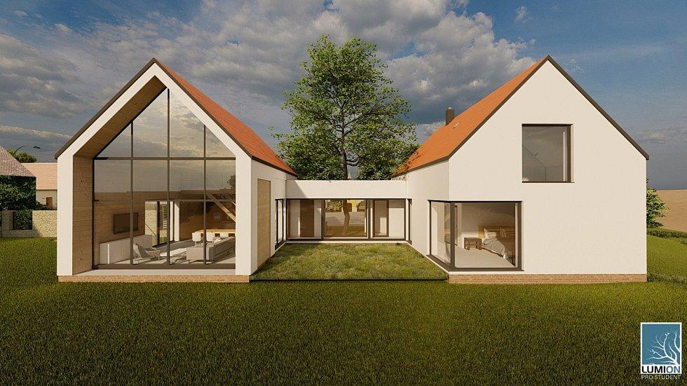 Vítězný návrh rodinného domu Grunt, dílo Ondřeje Adamce.