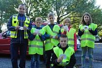 Smíšené hlídky školáků, policistů a strážníků kontrolují v úterý 10. září 2019 dodržování dopravních předpisů na silnicích v Poličné a Valašském Meziříčí.