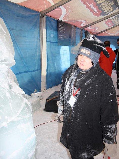 Alena Telmerová dorazila o víkendu na Pustevny vyrobit z ledu sochu Ne-konečna.