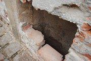 Výklenek objevený v zámku Žerotínů ve Valašském Meziříčí.