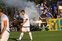 V 75. minutě utkání VKK - Zlín bylo utkání na 10 minut přerušeno kvůli bitce fanoušků.