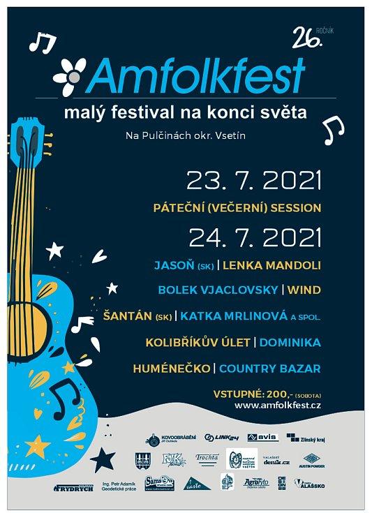 Plakát 26. ročníku festivalu Amfolkfest, který se koná v pátek a sobotu 23. a 24. července 2021 v Pulčíně na Hornolidečsku.