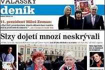 Detail titulní strany sobotního vydání Valašského deníku.