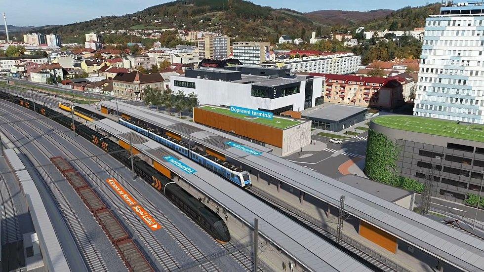 Vizualizace proměny vlakového nádraží ve Vsetíně a přilehlého centra města.