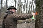Pracovník společnosti Městské lesy a zeleň Valašské Meziříčí Petr Čtvrtníček označuje stromy určené ke smýcení v okolí mokřadu v Hrachovci.
