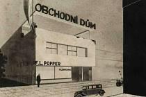 Návrh obchodního a obytného domu Kupkova bratra Viléma na Mostní ulici čp. 82. Výřez.