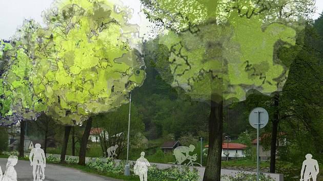 Vizualizace plánovaných protipovodňových zídek na Tyršově nábřeží v Rožnově pod Radhoštěm