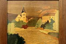 Intarzovaný obraz Valašského Meziříčí - práce arch. Antonína Tenzera, žáka dřevařské školy