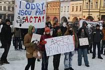Demonstrace proti mezinárodní smlouvě ACTA ve Valmezu