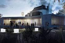 Architektonický návrh podoby budoucí přístavby rožnovské městské knihovny od studia Čtyřstěn.