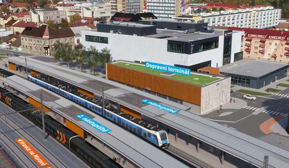 Vizualizace dopravního terminálu a nádraží ve Vsetíně