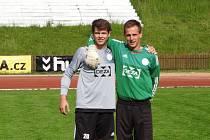 Jan Příhoda nalevo vedle současného brankáře Valmezu Milana Michuta (v zeleném)