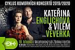 Kateřina Englichová (harfa) a Vilém Veverka (hoboj). Plakát ke koncertu v Mramorovém sále zámku ve Vsetíně 18. března 2020.