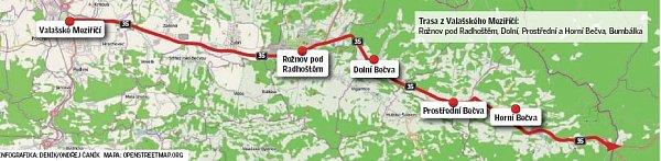 Objízdná trasa zValašského Meziříčí.