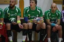 Zuberští házenkáři (zleva) Jakub Šíra, Petr Šlachta, Michal Dědek