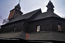 Kopie kostelíka svaté Anny z Větřkovic v areálu Dřevěného městečka Valašského muzea v přírodě v Rožnově pod Radhoštěm