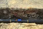Archeologický průzkum na místě přestavovaného kruhového objezdu ve Valašském Meziříčí.